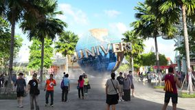 The large rotating globe fountain in front of Universal Studios stock video