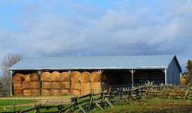 Large Round Bales in Storage Shed Stock Images