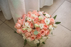 Large round box with pink roses and cream flowers. Floral Stock Photography