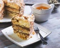 Large round cake of meringue Royalty Free Stock Photo