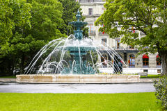 Large round fountain in Geneva Stock Images