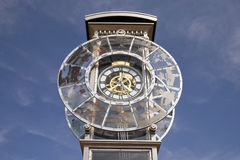 The large round hours. Urban hours on a background of the dark blue sky Stock Photography