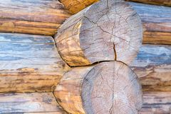 Large round log wooden background folded wall house rustic background base base close-up light beige pattern stock images