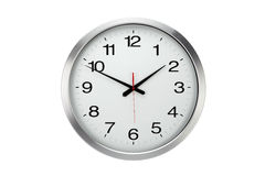 Large round office wall clock  isolated Stock Photos