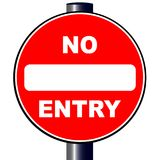 No Entry Sign. A large round red traffic no entry sign over white stock illustration