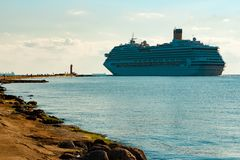 Large royal cruise liner. On the way. Travel and spa services Royalty Free Stock Photo
