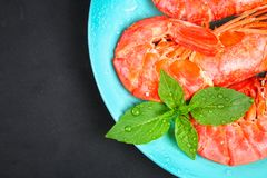 Large royal raw frozen prawns on a blue plate with thyme and basil on a concrete table. Red shrimps. Top view. Large royal raw frozen prawns on a blue plate Royalty Free Stock Image