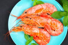 Large royal raw frozen prawns on a blue plate with thyme and basil on a concrete table. Red shrimps. Top view. Large royal raw frozen prawns on a blue plate Stock Image