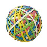 Large Rubberband Ball Over White Royalty Free Stock Images