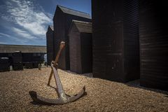 Free Large Rusted Anchor Outside Smokehouses In Hastings Stock Photos - 163209893