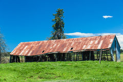 Rusty Farm Barn Green Blue Stock Photo