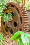 Large rusty gear of Tin Dredge in the deserted tin mine. Dry leaves fall on the ground, tropical forest backgrounds. Thai Mueang, Phang Nga, South Thailand stock image