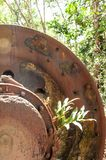 Large rusty gear of Tin Dredge in the deserted tin mine. Tropical plant growing in the rusty gear, dry leaves fall on the ground,. Forest backgrounds. Thai royalty free stock photography