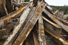 Large rusty steel beams. For recycling Royalty Free Stock Photography