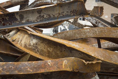 Large rusty steel beams. For recycling Royalty Free Stock Photos