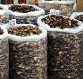 Large Sacks with Dried Mushrooms Royalty Free Stock Photo