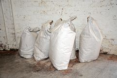 Large sacks of flour. Royalty Free Stock Image
