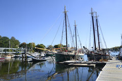 Large sailboats in the Camden Harbor in Maine Stock Image