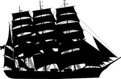 Large sailer silhouette Royalty Free Stock Image