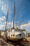 Large sailing boat in dock Stock Photo