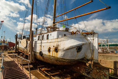 Large sailing boat in dock Stock Photography