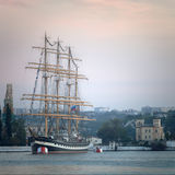 Large sailing ship in the bay Stock Image