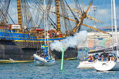 The large sailing ship East Indiaman Royalty Free Stock Photo
