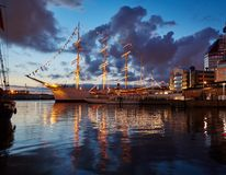 A large sailing ship in the port of Göteborg, Sweden. A large sailing ship in the port of Göteborg, Sweden. Summer quiet evening royalty free stock image