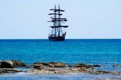 Large sailing ship sailing on the sea of Sicily royalty free stock photos