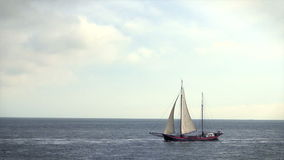 Large sailing ship on the sea stock video footage