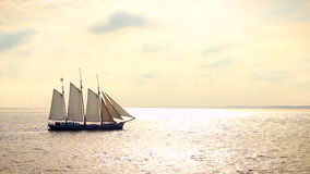 Large sailing ship on the sea stock footage