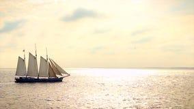 Large sailing ship on the sea stock footage