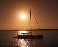 Large Sailing Yacht In Sunset Stock Image