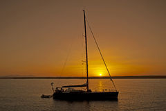 Large Sailing Yacht In Sunset Royalty Free Stock Photography