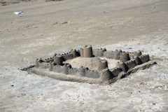Large sand castle on a beach. Royalty Free Stock Photography