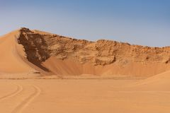 A large sand dune being dug out for new development. In Ras al Khaimah, United Arab Emirates royalty free stock photos