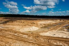 BOLOTSKOE SAND QUARRY, RUSSIA - MAY 2017: Sand quarry. Mining stock photography