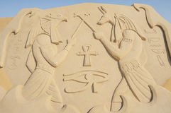 Large sand sculpture of egyptian hieroglyphic carvings Stock Photography