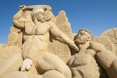 Large sand sculpture of Hercules the Greek Stock Photos