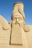 Large sand sculpture of Lamassu deity Stock Images
