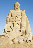 Large sand sculpture statue of Napoleon Bonaparte Stock Image