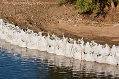 Large sandbag flood defences Royalty Free Stock Image