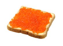 Large sandwich with butter and fish caviar Stock Image
