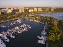 Sarasota, FL Marina and Bayfront Park. A large Sarasota marina and the Bayfront Park that extends into the Bay Royalty Free Stock Photos
