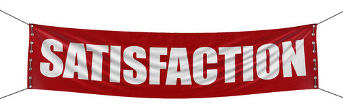 Large Satisfaction banner with fabric surface texture. Image with clipping path Royalty Free Stock Image