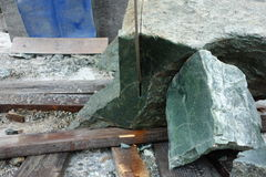 A large saw used to cut jade mined in canada. Stock Images