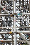 Large scaffolding joints. In construction site Stock Photos