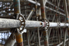 Large scaffolding joints. In construction site Royalty Free Stock Photos