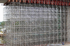 Large scaffolding. Metro construction. In morning Stock Photos