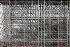 Large scaffolding. Metro construction. In morning Royalty Free Stock Image